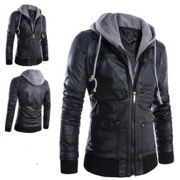 Men's Hooded Faux Leather Jacket Autumn Casual Slim Fit Bike