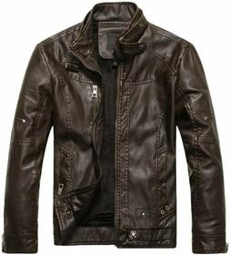 Chouyatou Men's Jacket, Stand Collar, Faux Leather, Small