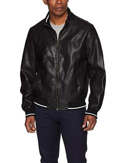 Tommy Hilfiger Men's Lamb Touch Faux Leather Bomber Jacket X
