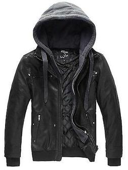 Wantdo Men's Leather Jacket with Removable Hood US, Black, S