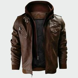 Men's Leather Jackets Motorcycle Pu Faux Clothing Casual Sol