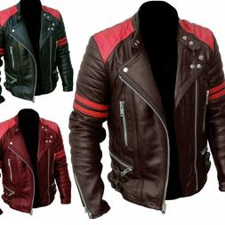 Men Fashion Motorcycle Jacket Coats Faux Leather Bomber Pilo