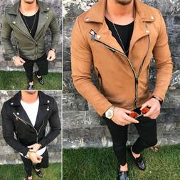Men's Leather Slim Short Jacket Motorbike Motorcycle Biker C