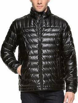 Tommy Hilfiger Men's Lightweight Quilted Faux Leather Puffer