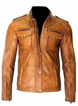 Men's Motorcycle Real Lambskin Tan Brown Leather Distressed