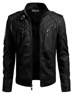 IDARBI Men's Motorcycle Rider Jacket, Stand Collar Zip Up Fa