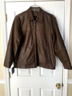 Men's Claiborne Outerwear Brown Lambskin Leather Jacket Coat