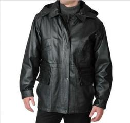 Men's Outerwear Winter Leather Parka Black hooded Jacket Coa