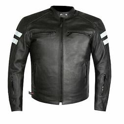 Men's Premium Leather Street Cruiser Armored Biker Motorcycl