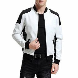 AOWOFS Men's PU Faux Leather Jacket White Black Moto Bomber