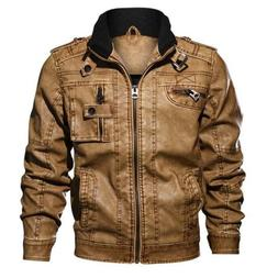 Men's PU Jacket Leather Coats Motorcycle Slim Fit Windbreake