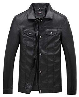 KIWEN Men's PU Leather Collar Jacket Casual Wear