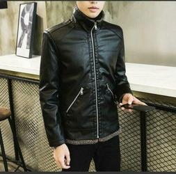 Men's PU Leather Jacket Lapel Zip Motorcycle Fleece Lined Co