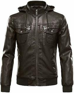 Tanming Men's Pu Leather Jacket with Removable Fur Hood, Cof