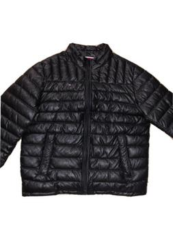 Tommy Hilfiger Men's Quilted Faux-Leather Puffer Jacket L Bl