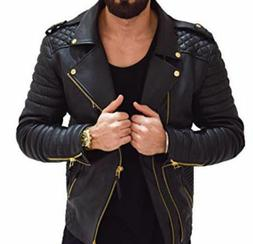 Men's Real Lambskin Leather Jacket Biker Motorcycle Style Sl