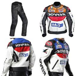 Men's REPSOL Motorcycle PU Leather Racing Jacket Armor Ridin