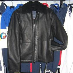 men s shearling leather bomber jacket nwt