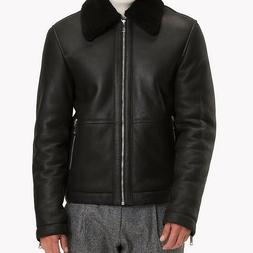 men s shearling leather bomber jacket