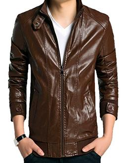 KIWEN Men's Slim Fit Faux PU Leather Jacket