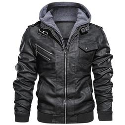 Men's Slim Fit Outwear Black Leather Jacket Zipper Hooded Mo