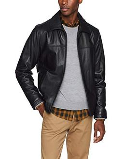 Tommy Hilfiger Men's Stand Collar Classic Leather Jacket, Bl