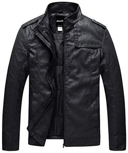 Wantdo Men's Stand Collar PU Leather Jacket Outwear US Large