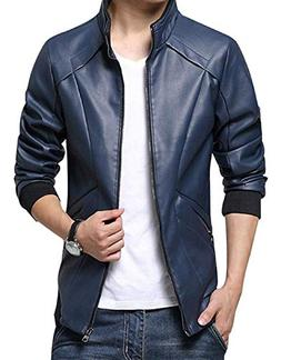 TOP Fighting Men's Stand Up Collar Faux Leather Jacket Slim
