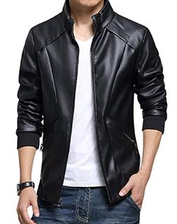 KIWEN Men's Stand Up Collar Faux Leather Jacket Slim Fit,Bla