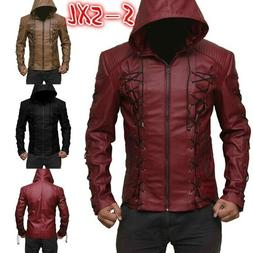 Men's Steampunk Hooded Leather Jacket Motorcycle Hoodie Jack