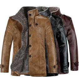Men's Stylish Buttons Faux Leather Jacket Parka Outerwear Fu