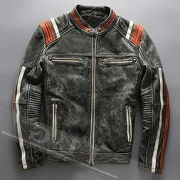 Men's Vintage Motorcycle Cafe Racer Biker Retro Moto Distres