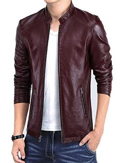 KIWEN Men's Vintage Stand Collar Leather Jacket
