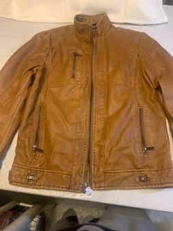 chouyatou Men's Vintage Stand Collar Pu Leather Jacket Small