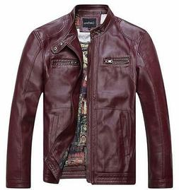 chouyatou Men's Vintage Stand Collar Pu Leather Jacket, 96re