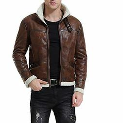 AOWOFS Men's Vintage Stand Collar PU Leather Jacket Thick Wa