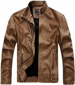 Chouyatou Men's Vintage Stand Collar Pu Leather Jacket Size