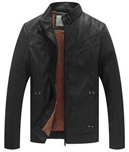 WenVen Men's Vintage Stand Collar Pu Leather Jacket
