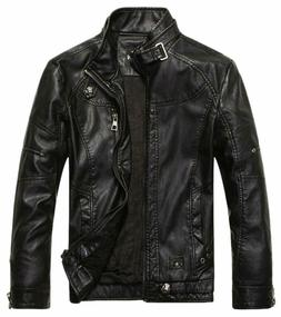 Chouyatou Men'S Vintage Stand Collar Pu Leather Jacket