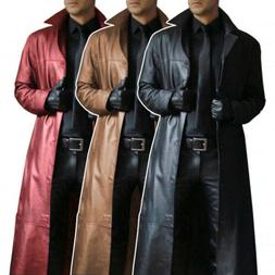 Men's Windproof Mens Leather Trench Coat Long Jacket Thick W