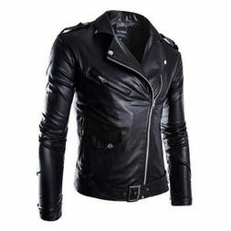 Men's Leisure Leather Jacket Biker Jackets Motorcycle Coat S