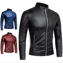 Men's Zipper PU Leather Jacket Outwear Casual Slim Fit Motor