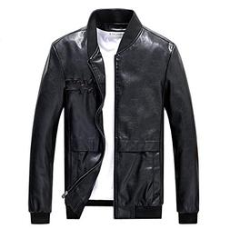 Men Vintage Stand Collar Pu Leather Jacket Leather Motorcycl