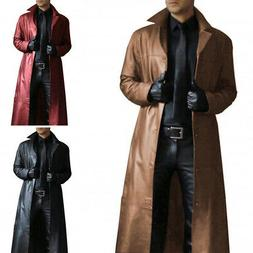 Men Winter Long Trench Coat Turn Neck Long PU Leather Coat C