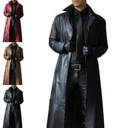 Men Winter Long Trench Coat Turn Neck Long Leather Coat Cool