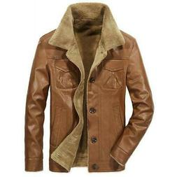 Men Winter Outdoor pu Leather Jacket Fleece Lined Outwear Bi