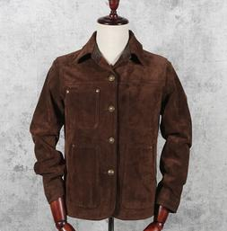 Mens 100% Suede Leather Lapel Collar Jacket Casual Outwear M