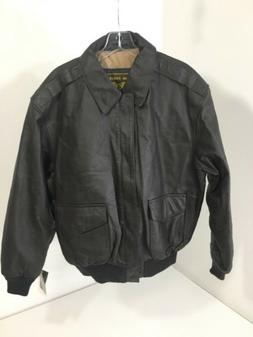LANDING LEATHERS MENS A-2 LEATHER FLIGHT JACKET DARK BROWN M
