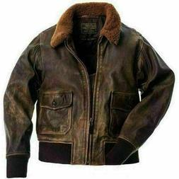 MENS AVIATOR G1 FLIGHT DISTRESSED BOMBER REAL LEATHER JACKET