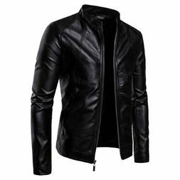 mens biker moto jacket stand collar motorcycle
